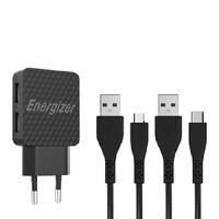Sạc Energizer Lifetime warranty 2.4A 2USB kèm cáp Micro USB và USB-C2.0-AC2BEULCMM